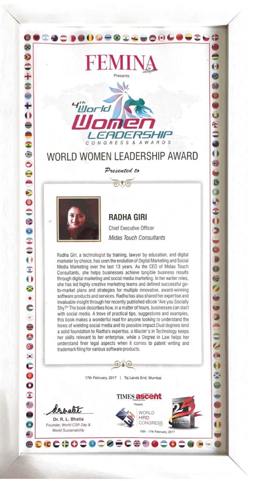 WOMEN LEADERSHIP ACHIEVEMENT AWARD